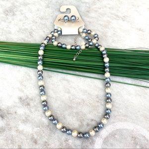 Kim Rogers 3 piece blue faux pearl necklace set